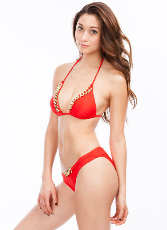 Chain Link Bikini Set RED