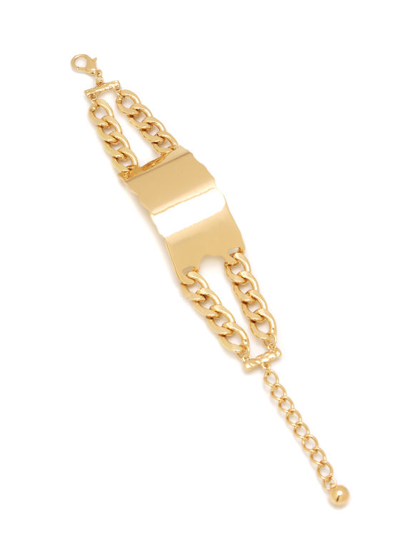 Textured Plate Chain Bracelet GOLD