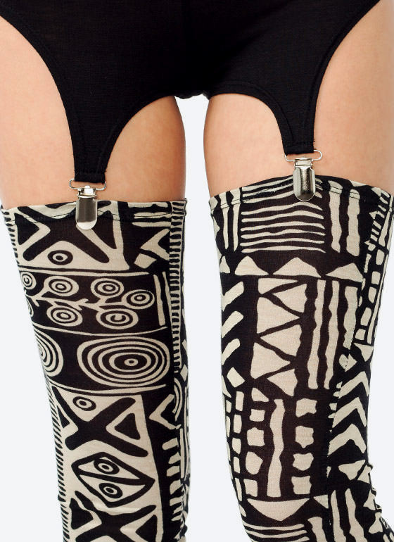 Tribal Print Garter Leggings KHAKIBLACK