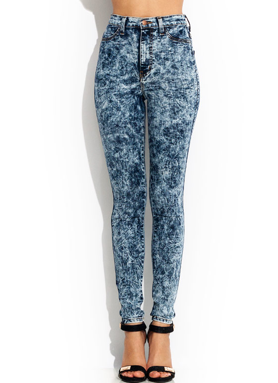 High-Waisted Acid Wash Jeans DKBLUE
