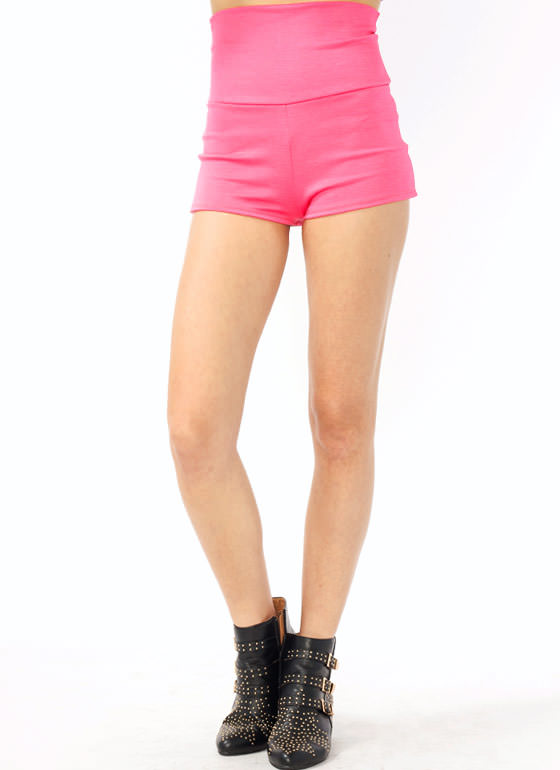 High-Waisted Shorts NEONPINK