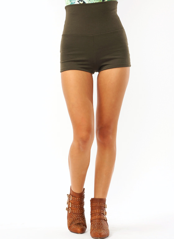 High Waisted Shorts OLIVE