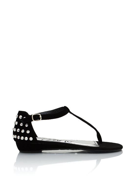Studded Faux Nubuck Sandals BLACK
