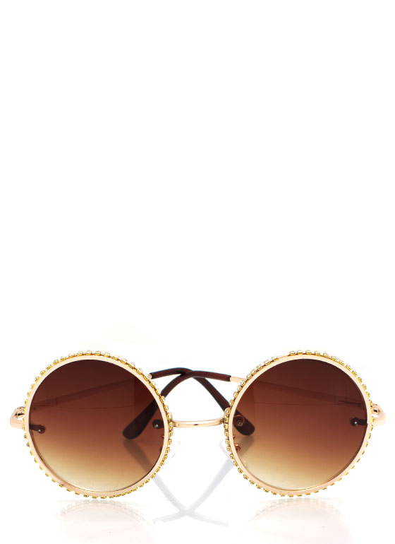 Round Rhinestone Trim Sunglasses GOLD