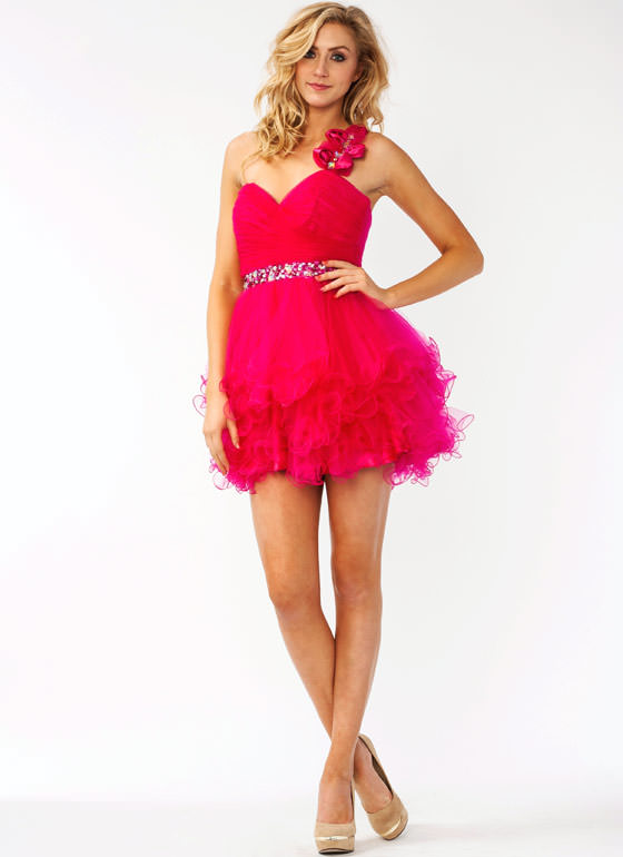 Asymmetrical Embellished Tulle Formal FUCHSIA