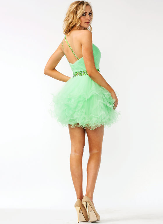 Asymmetrical Embellished Tulle Formal MINT