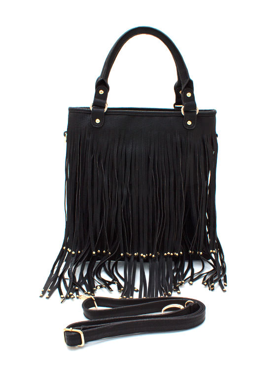 Studded Fringe Bag BLACK