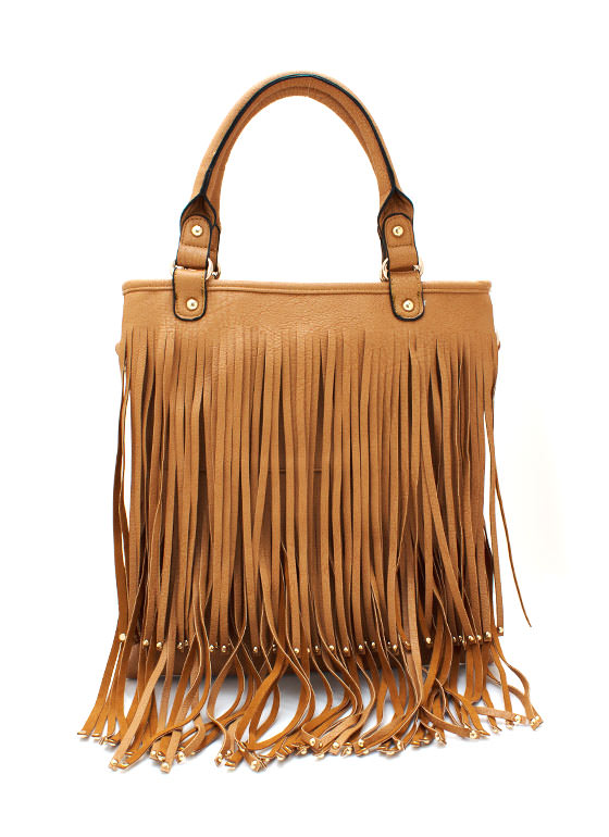 Studded Fringe Bag CAMEL