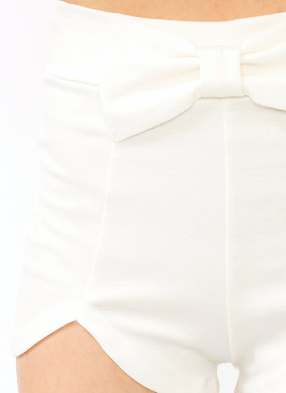 Bow Accented Shorts IVORY