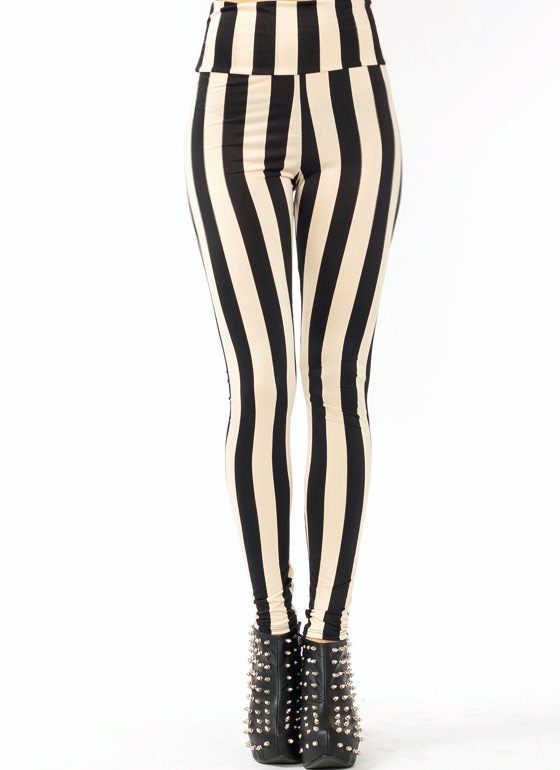 High Waisted Striped Leggings KHAKIBLACK