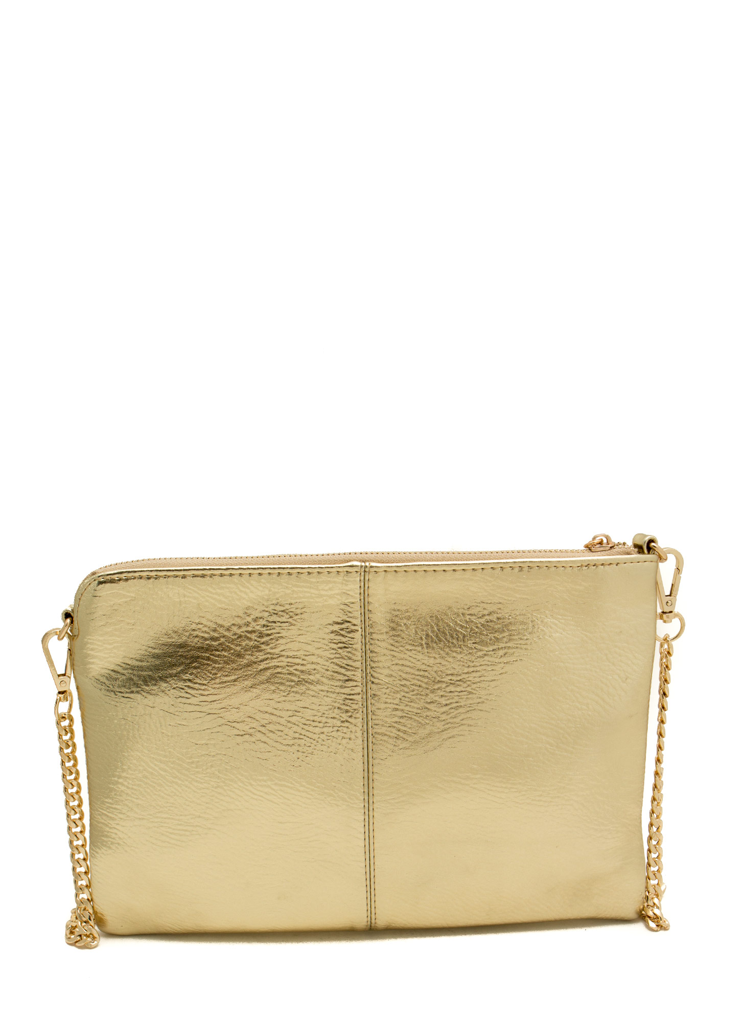 Exposed Tassel Zipper Clutch GOLD