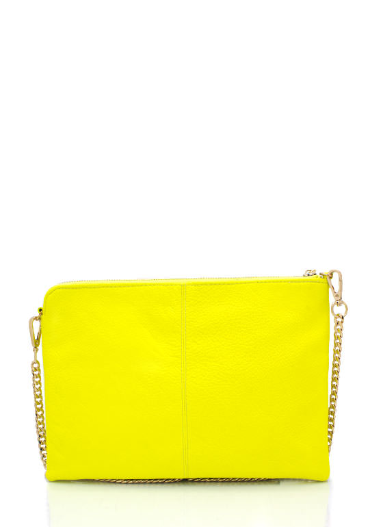 Exposed Tassel Zipper Clutch NEONYELLOW