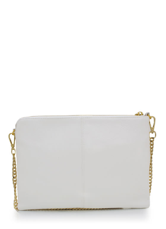 Exposed Tassel Zipper Clutch WHITE