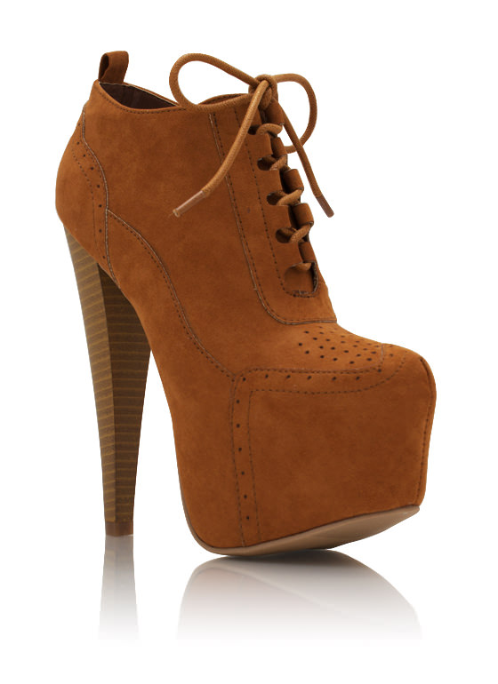 Perforated Lace Up Faux Suede Booties RUST