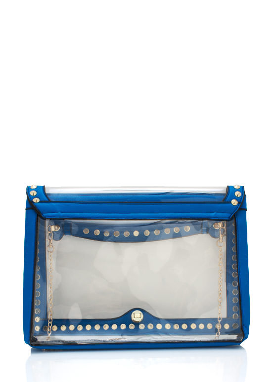 Spiked Futuristic Pvc Clutch BLUE