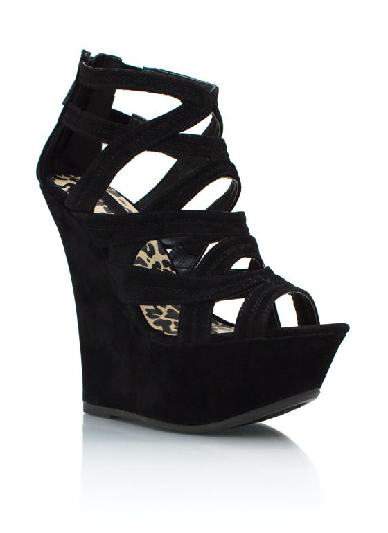 Faux Suede Platform Wedges BLACK