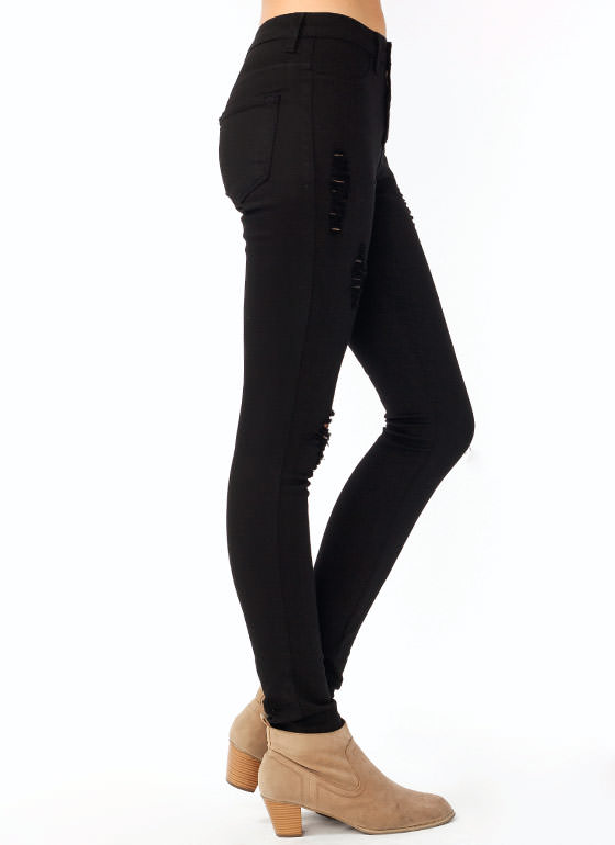 Destroyed Skinny Jeans BLACK