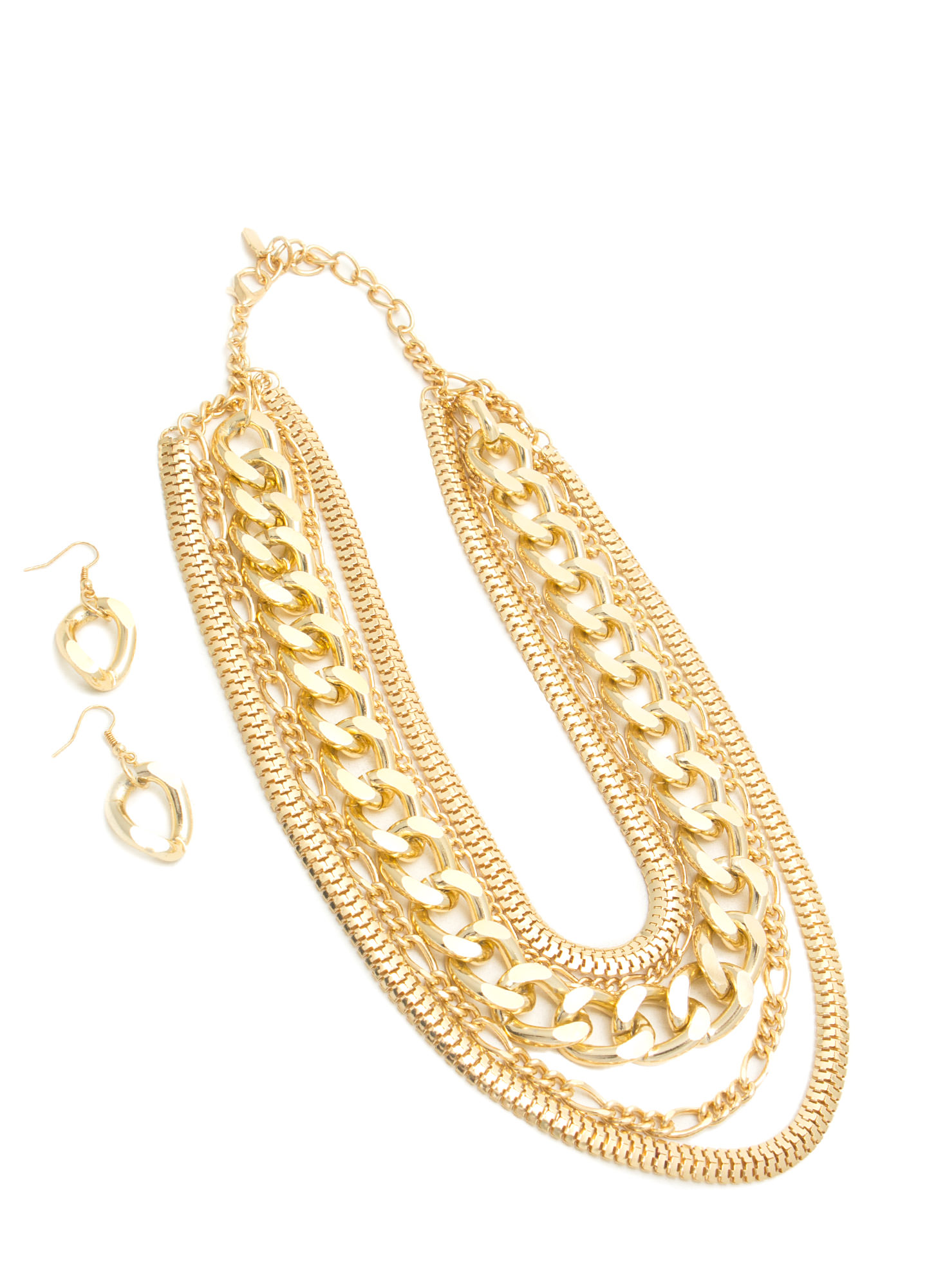 Layered Chain Necklace Set GOLD