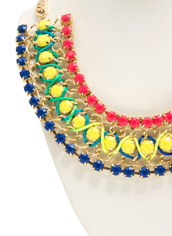 Rainbow Wrapped Jewel Necklace NYLLWMULTI