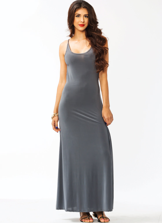 Open Back Maxi Dress DKGREY