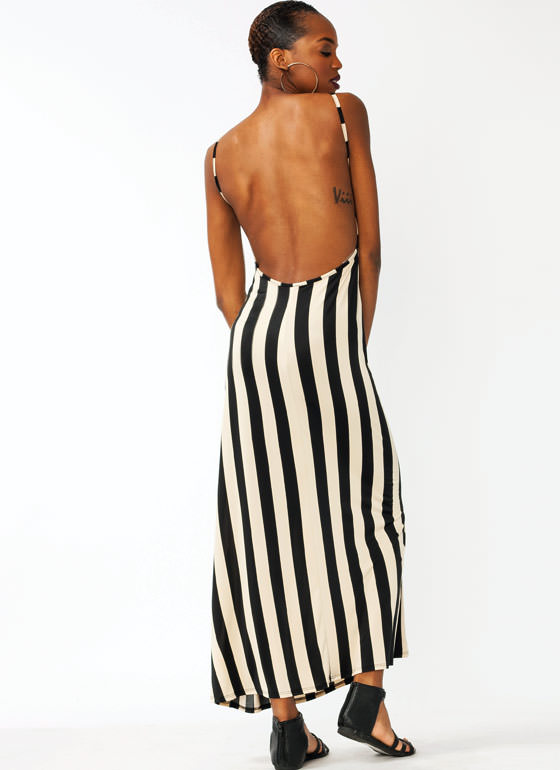 Striped Open Back Maxi Dress BLACKKHAKI