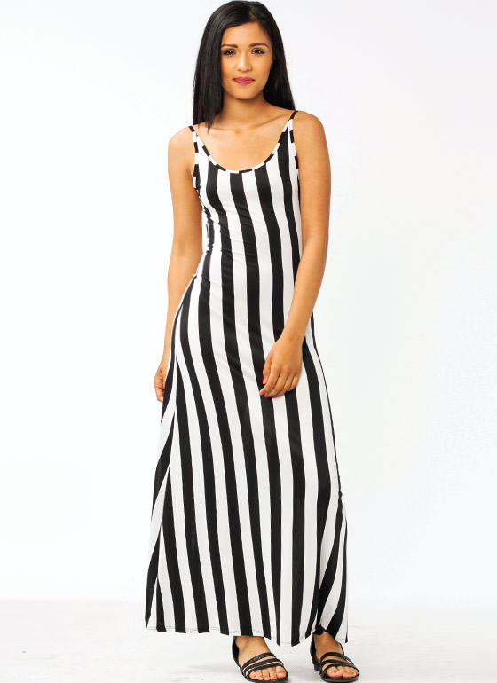 Striped Open Back Maxi Dress BLACKWHITE