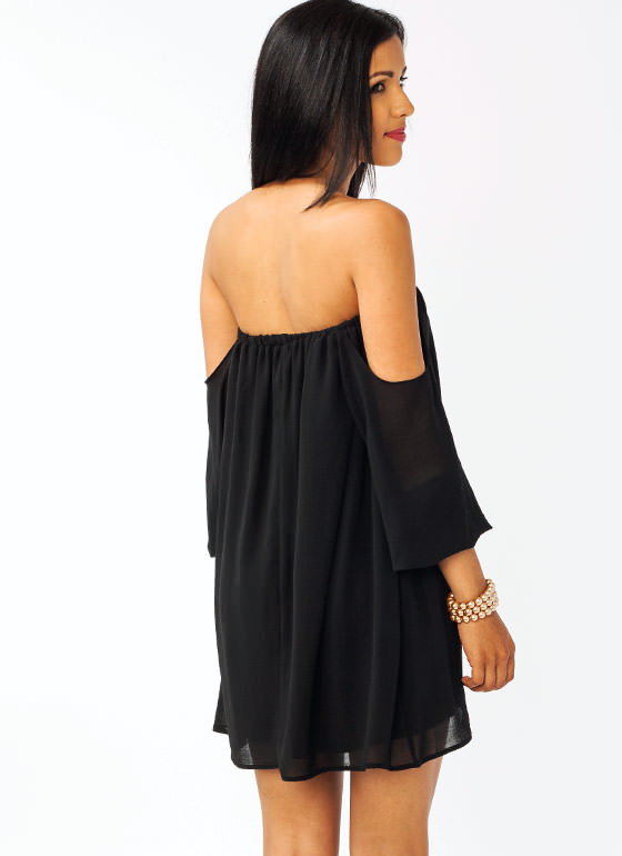 Off The Shoulder Mini Dress BLACK