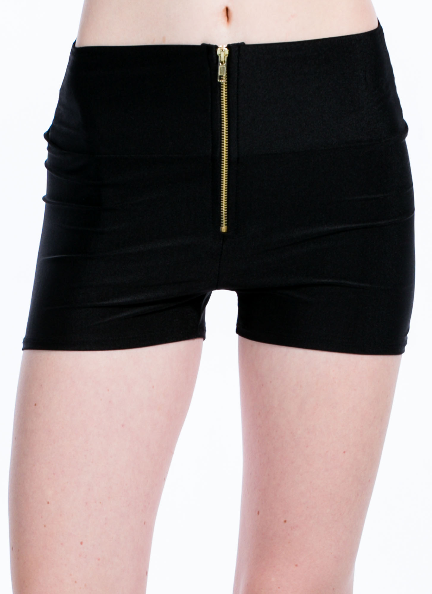 High Waisted Zipper Shorts BLACK