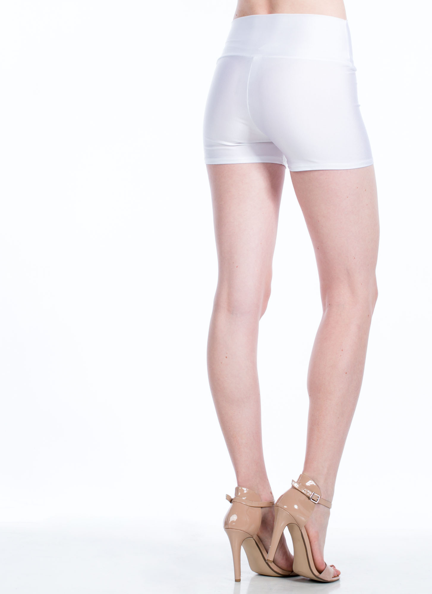 High-Waisted Zipper Shorts WHITE