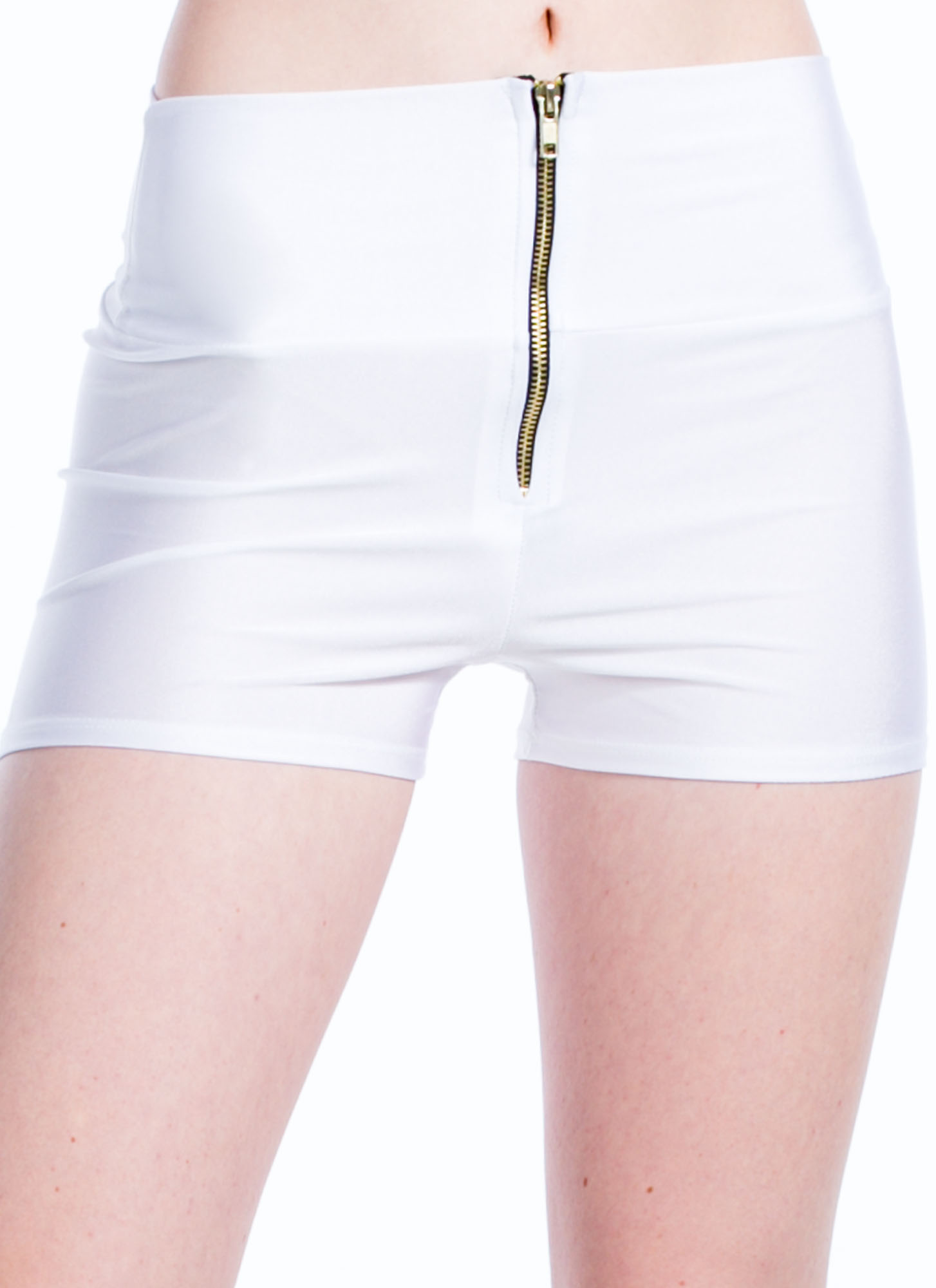 High Waisted Zipper Shorts WHITE