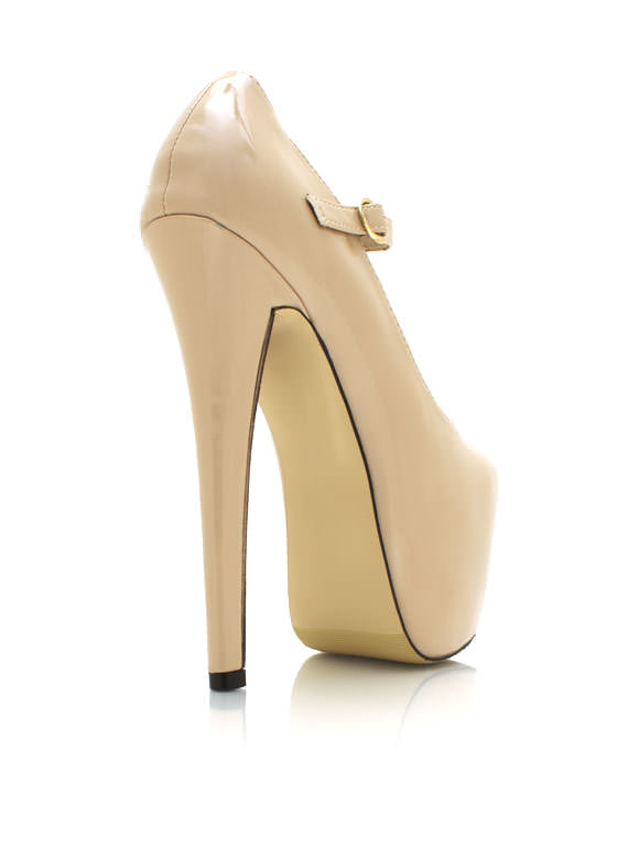 Mary Jane Platform Pumps NUDE