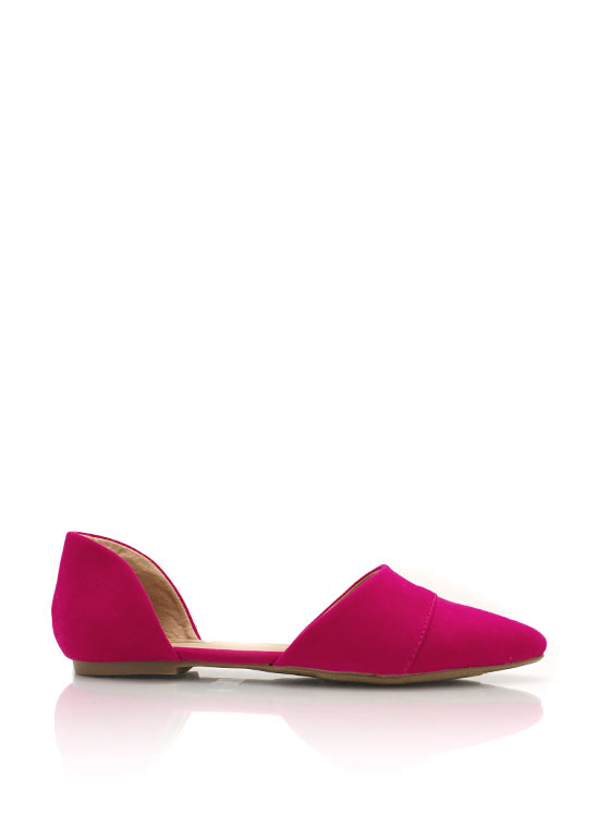 Pointy Toe Open Flats FUCHSIA