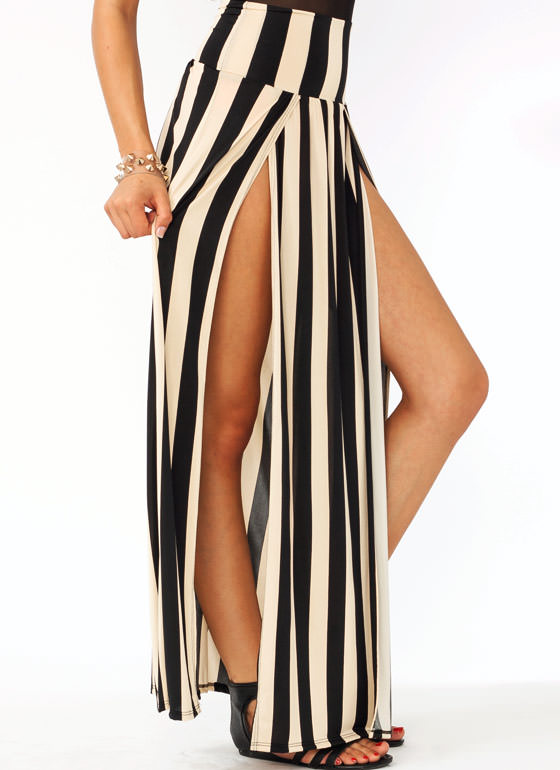 Striped Double Slit Maxi Skirt BLACKKHAKI