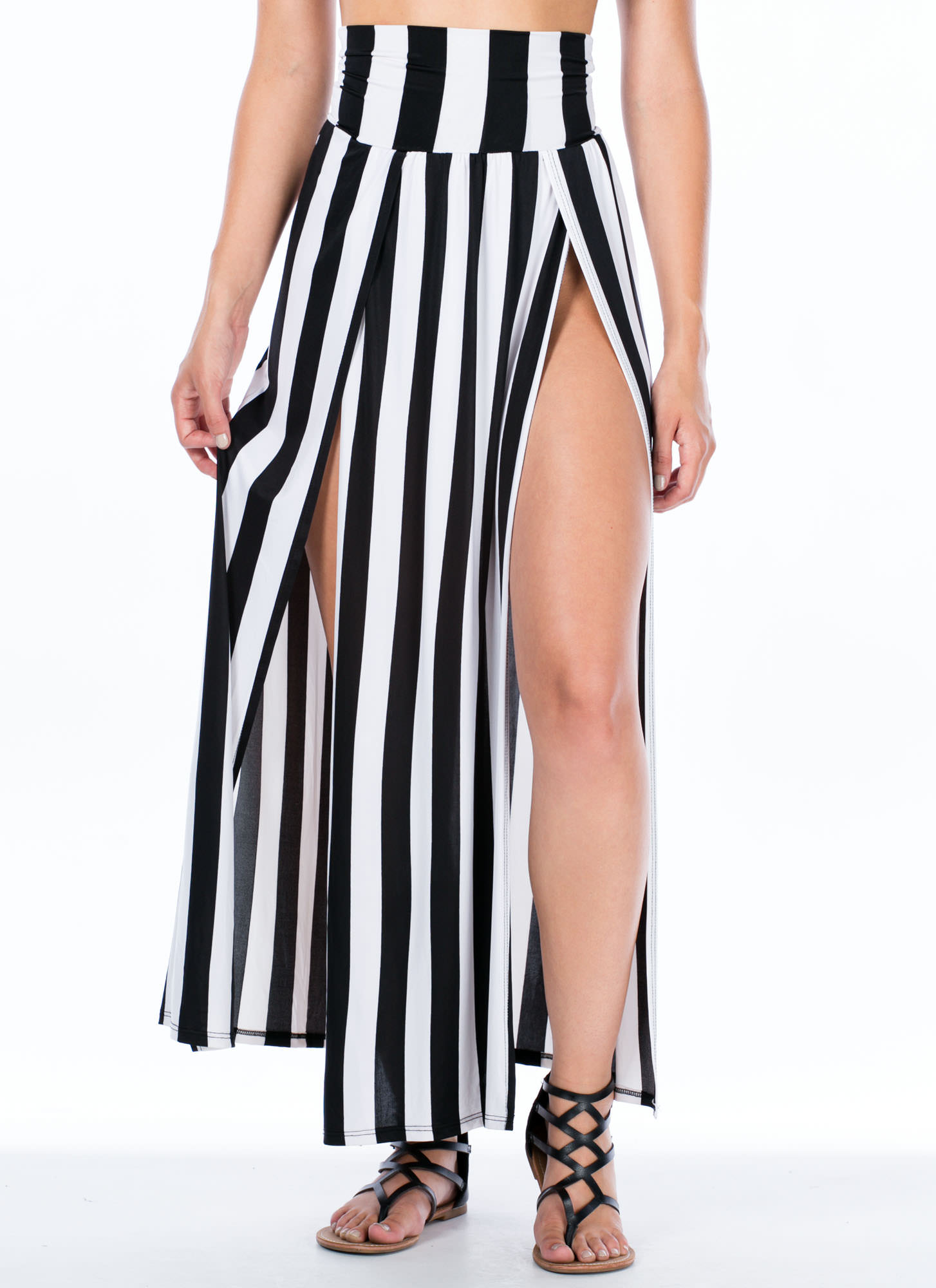 Striped Double Slit Maxi Skirt BLACKWHITE