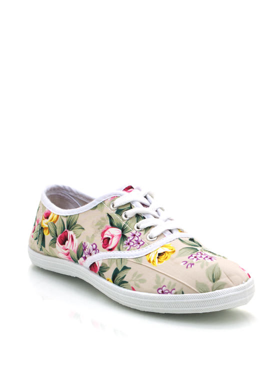 Floral Lace Up Sneakers WHITE