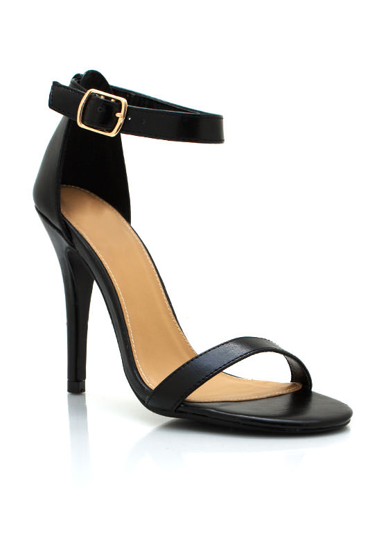 Strappy Faux Leather Heels BLACK