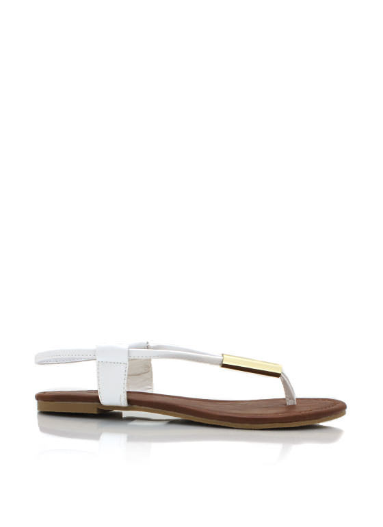 Metallic Accent Thong Sandals WHITE