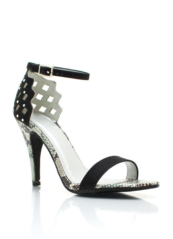 Cut Out Reptile Heels BLACK
