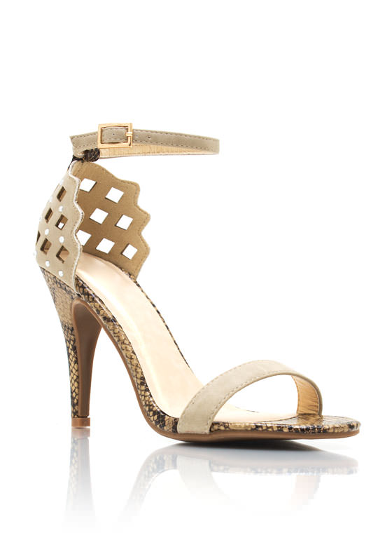 Cut Out Reptile Heels NUDE