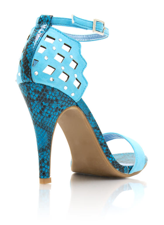 Cut Out Reptile Heels TURQUOISE
