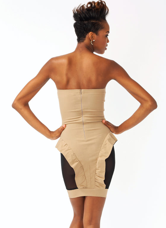 Strapless Mesh Ruffle Dress TAUPEBLACK