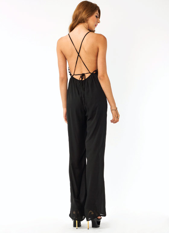 Strappy Crisscross Jumpsuit BLACK