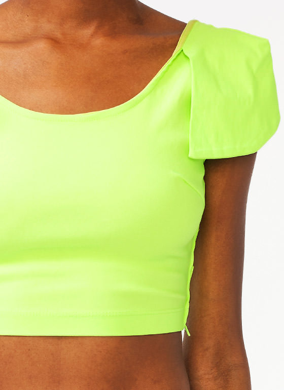 Petal Sleeve Cropped Top LIME