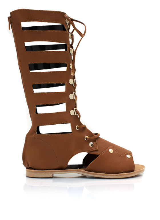 Lace Up Gladiator Sandals CAMEL