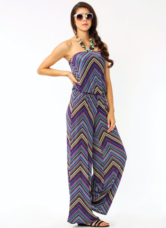 Zig Zag Draped Jumpsuit PURPLEYLLW
