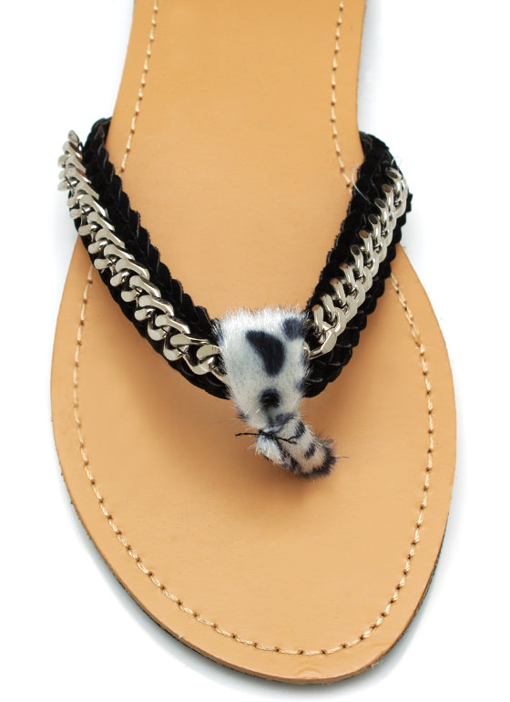 Draped Chain Cheetah Sandals BLACK