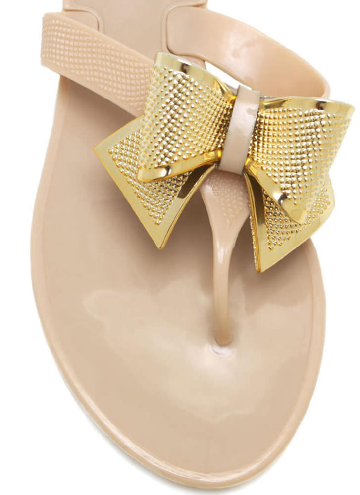 Bow Accented Jelly Sandals BEIGE