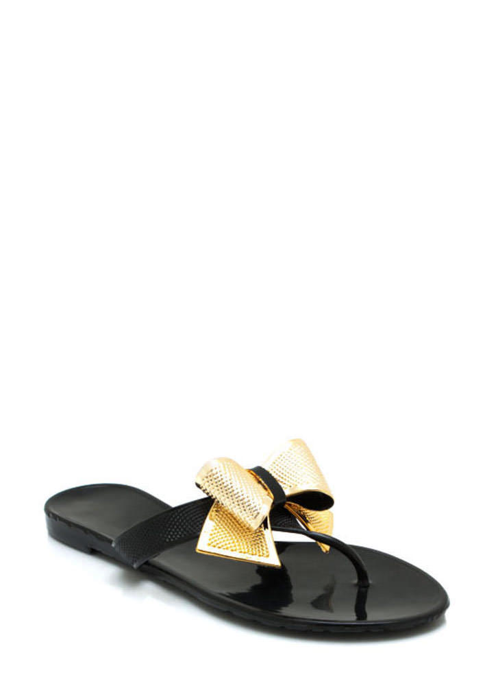 Bow Accented Jelly Sandals BLACK