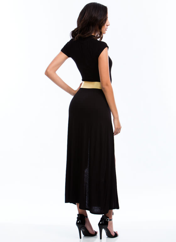 Cut Out Slit Maxi Dress BLACK