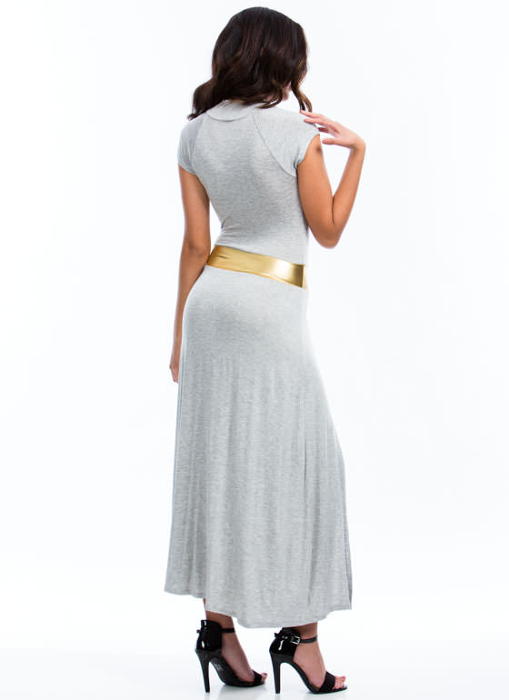 Cut Out Slit Maxi Dress GREY